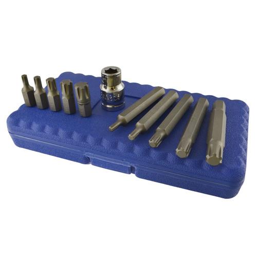 "1/2"" Drive Ribe Bit Socket Set M5 - M12 Short (30mm) And Deep (75mm) 11pcs Set"