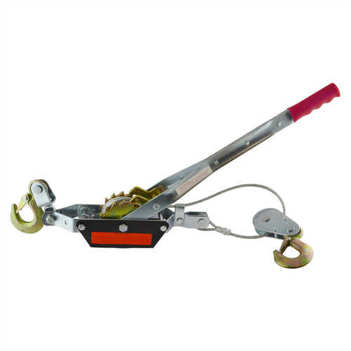 2 Ton Hand Power Wired Cable Puller Winch Turfer Pulley Soft Grip Handle TE817