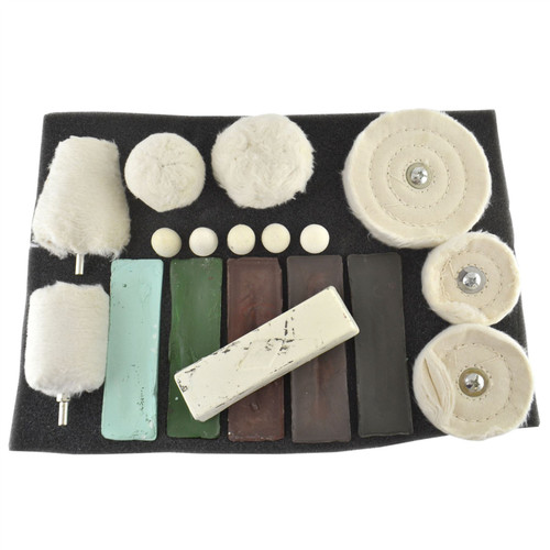 18pc Deluxe Polishing Kit Buffing Metal Car Caravan Spindle Drill Pad TE847