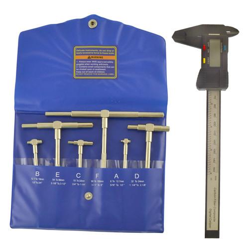 "6pc Gauge Depth Bore Hole Cylinder 5/16"" - 6"" & Digital Electronic Vernier Caliper"