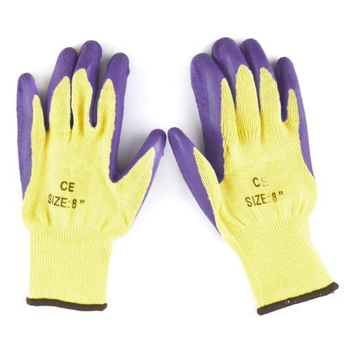 "8"" Builders Protective Gardening DIY Latex Rubber Coated Work Gloves Purple x 5"