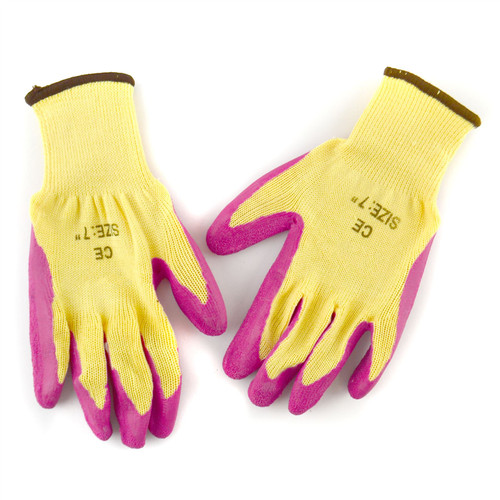 """7"""" Builders Protective Gardening DIY Latex Rubber Coated Work Gloves Pink"""