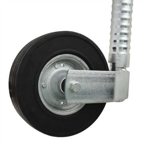 Bradley 48mm Ribbed Jockey Wheel Wide Commercial Plant Trailer & Ribbed Clamp