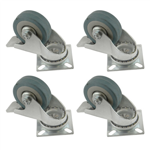 "2"" (50mm) Braked Castors Swivel 4PK Rubber 50kg Trolley Dolly Wheel Caster"