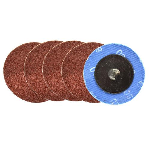 5pk Flap Disc Set 50mm Twist Button Abrasive Discs Sanding 80 Grit SIL242