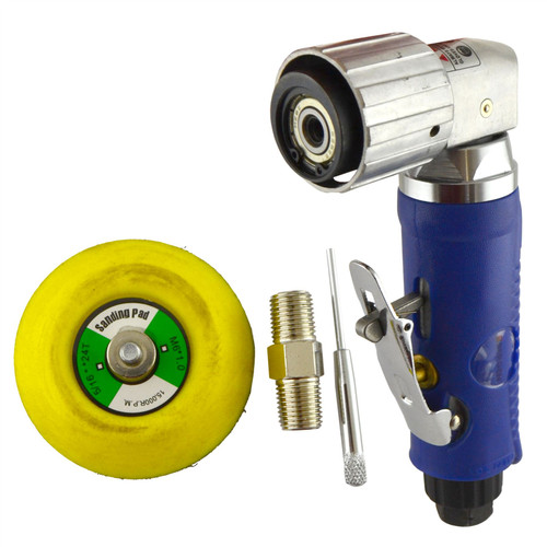 "2"" Air Angle Sander Grinder Polisher And 100 Pack Mixed Sanding Grit Hook/Loop Pads"