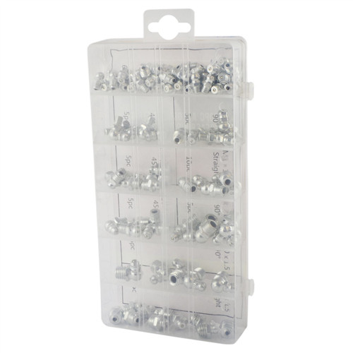 110pc Assorted Hydraulic Brake Metric Grease Nipple Assortment Set Fittings