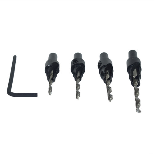 4pc Screw Counter Sink 6 - 12 Gauge Drill Pilot Tapered Wood Bore Groove