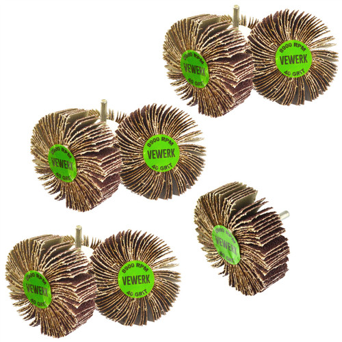 Flap Wheel Disc Shaft Mounted Abrasive Sanding Drill 80mm 40Grit 10PK AT378