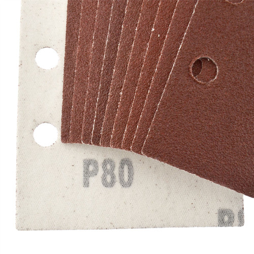 Hook/Loop 1/3 Sheet Sanding Sander Sandpaper Pads 10 Pack 80 Grit