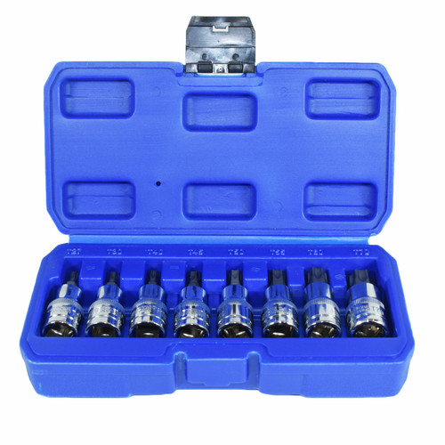"1/2"" Torx Star Male Bit Sockets T27 - T70 8pc Set By Bergen"