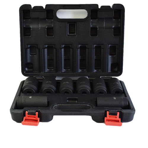 "1/2"" Drive Lug Wheel Nut Axle Impact Sockets Metric Sizes 29mm - 39mm 8pc Set"