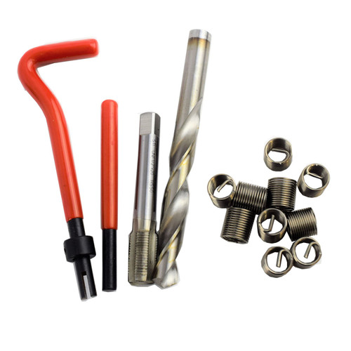 AB Tools-Unithread 7//16 x 14 Whitworth BSW Toca Reparar Kit de Fresas Helicoil roscas da/ñadas 14PC Kit