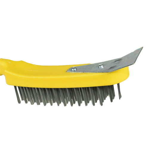 10 Wire Cleaning Brush 5 Row Steel Bristles with Plastic Handle and End Scarper