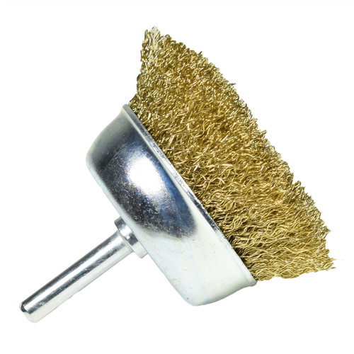 75mm Wire Cup Brush for Drills Steel Brass Coated Rust Paint Removal Remover