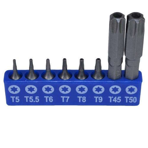 """Male Torx And Tamper Torx Bit Set T5 - T50 with 1/4"""" Bit Adapter 16pcs Bergen"""