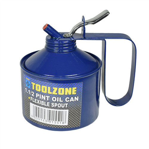 1-1/2 Pint Oil Lubricant Metal Can with Flexible Spout Thumb Pump Trigger Action