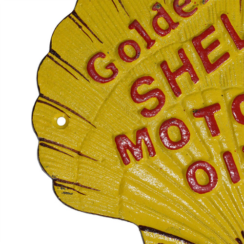 Shell Shaped Shell Oil Sign Fuel Cast Iron Sign Plaque Wall Garage Petrol Garage