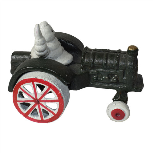 Michelin Man Waving In Tractor Mascot Figure Statue Bibendum Figurine Cast Iron