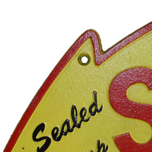 Shell Curved Arrow Fuel Cast Iron Sign Plaque Wall Garage Petrol Shop Garage