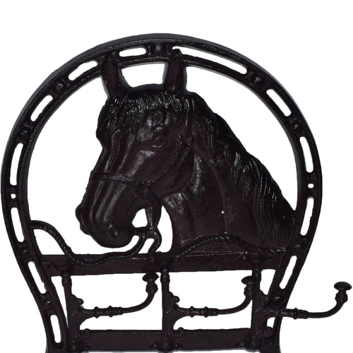 Horse Head Coat Jacket Hanger / Rack 3 Hooks / Pegs Stable Wall Hall House