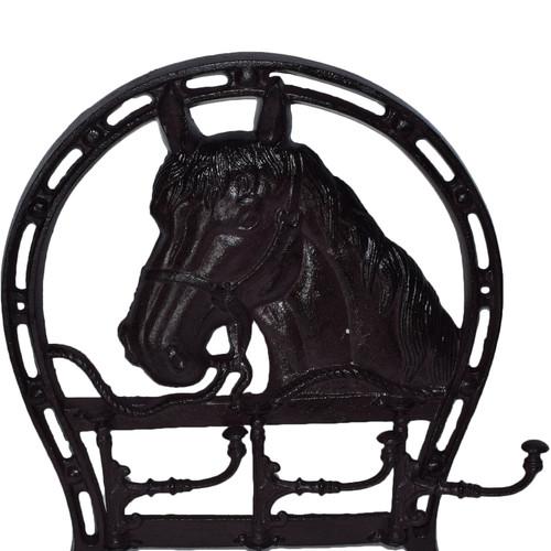 Horse Head Coat Jacket Hanger / Rack 3 Hooks / Pegs Stable Wall Hall House