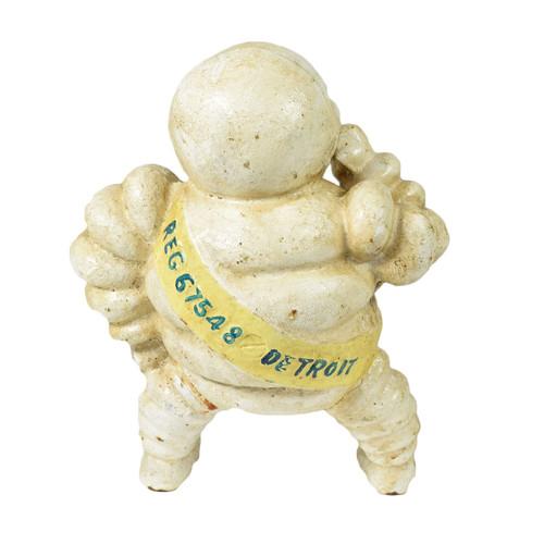 Small Michelin Man Mascot Bibendum Detroit Cast Iron Coin Money Bank Box
