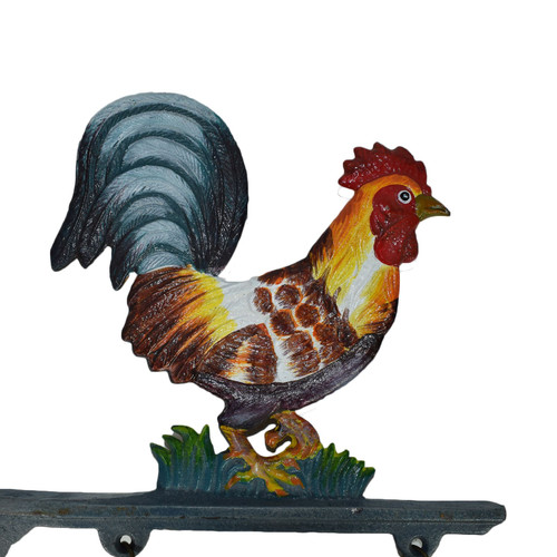 Cockerel Rooster Welcome Cast Iron Sign Plaque Door Wall Fence Gate House