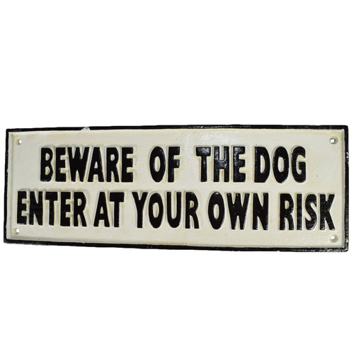 "2/"" x 6/"" gate sign /""Beware of the Dog Enter at Own Risk/"" sign fence sign"