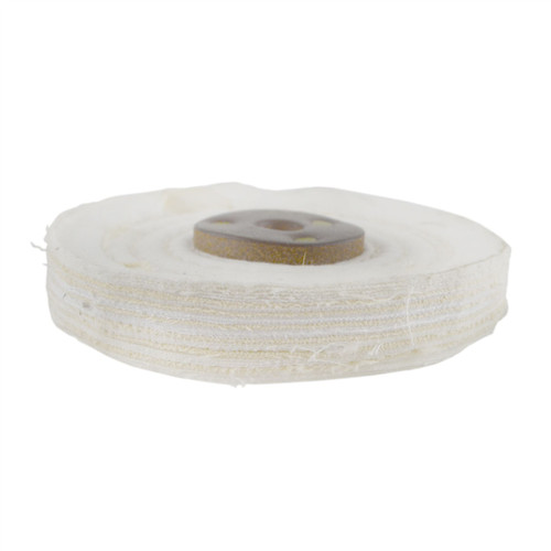 "White Close Stitched Polishing Buffing Mop 4"" x 0.5"" 1 Row With Compound 250g"
