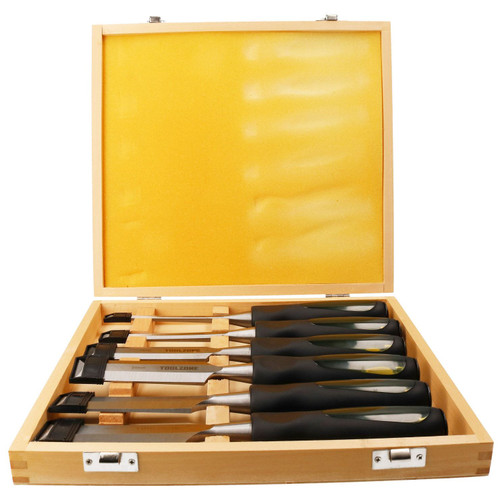 6pc Chisel Carving Wood Work Carpentry Chisels 6 - 38mm With Striking Cap Case
