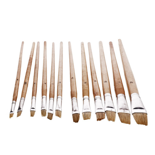 12pc Jumbo Flat Artist Brushes Wooden Handles Paint Brush Model Crafts