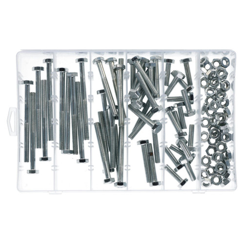 100pc M8 8mm Bolts Bolt with Nuts Assortment 30 - 100mm Hex Head