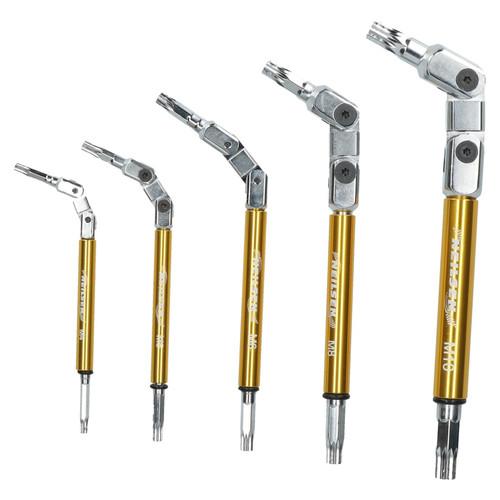 Multi Angle / Multi Jointed Flexi Spline Key Wrench Set 5pc M4 - M10