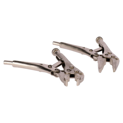 2pc Mini Locking Pliers Set Long and Round Nose Vice Grips Holders Clamps
