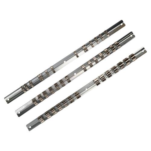 30pc Socket Storage Holder Organiser Rails For 1/4, 3/8, 1/2 Sockets 420 Clips