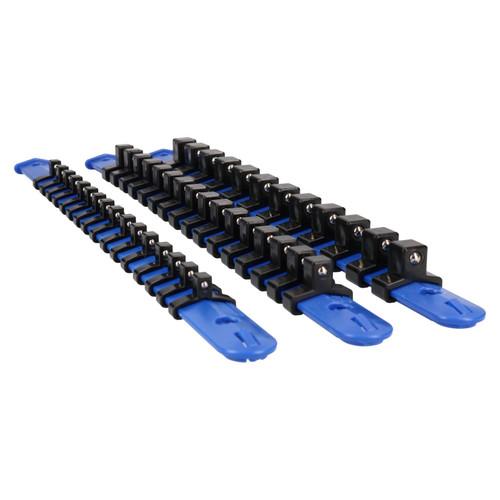 3pc Socket Storage Holder Organiser Plastic Rails 1/4 3/8 1/2 Sockets Bergen