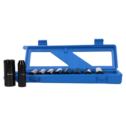 """10pc 1/2"""" Drive Deep Metric 6 Sided Impact Sockets 10mm - 24mm In Case"""