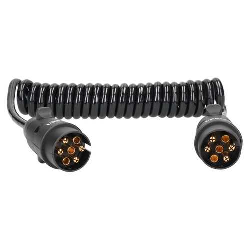 Trailer Light Electrics 3m Curly Extension Cable Lead Male to Male 7 Pin Plugs
