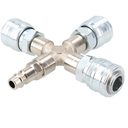 Airline T Piece Cross Type 4 Way EURO Quick Release Fittings for Compressors