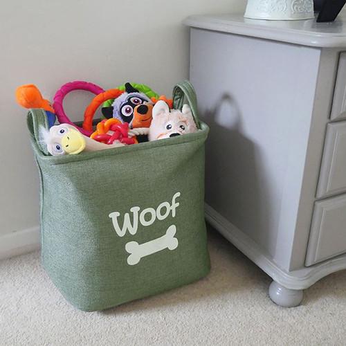 Forest Canvas Pet Dog Toy Storage Basket 33x7cm