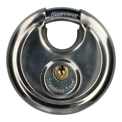 90mm Disc Padlock Security Shed Gate Lock Round Circle Steel Brass Lock