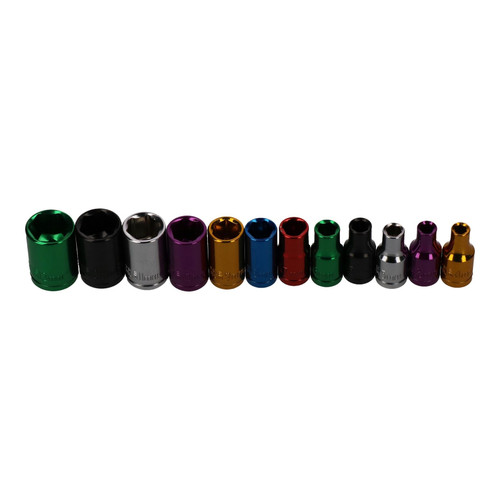 """12pc Coloured 1/4"""" Dr Shallow Sockets 6 Point Hex Metric 4 - 13mm With Rail"""