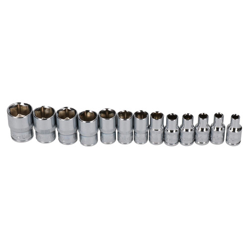 "1/4"" dr metric shallow sockets 13pc 4mm - 14mm 6 sided / single hex BERGEN AT671"