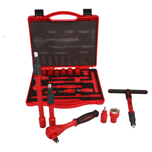 "3/8"" Drive Insulated VDE Tool Socket and Accessory Kit 16pc Metric Hex + T Bar"