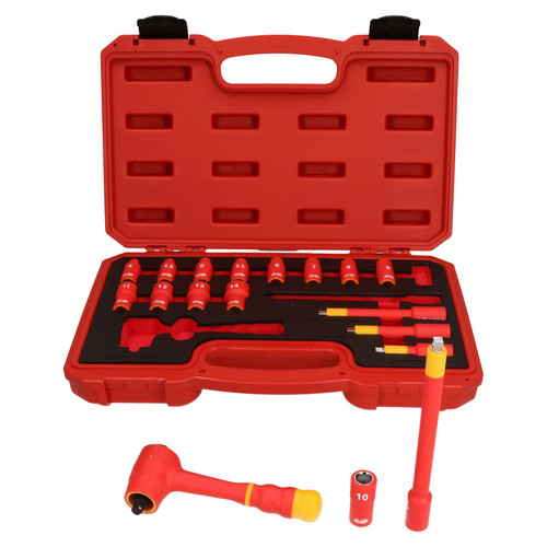 """1/4"""" Drive Insulated VDE Tool Socket and Accessory Kit 18pc Metric GS Approved"""
