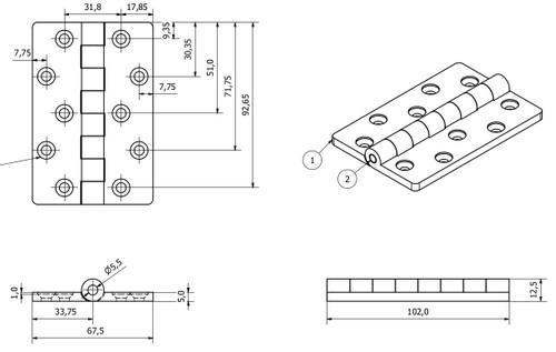 2 Pack Black Polymide Hinge Reinforced Plastic 67x102mm Italian Made Industrial