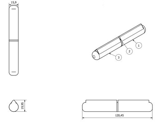 Lift Off Bullet Hinge Weld On Brass Bush 16x120mm Heavy Duty Industrial Quality
