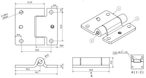 Pressed Steel Hinge Heavy Duty 65x73mm Industrial Door Hatch Locker 2PK