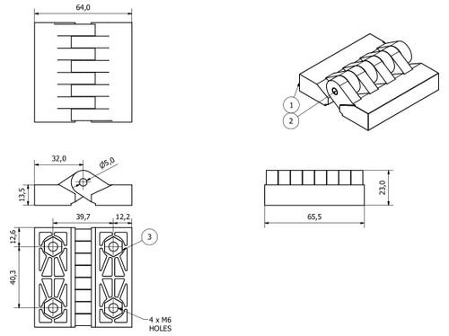 Polymide Hinge Plastic 64x65mm Concealed Fixing Door Locker Hatch